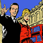 Retro Couple Sightseeing In London Art Print