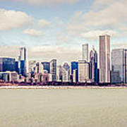 Retro Panorama Chicago Skyline Picture Art Print