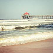 Retro Photo Of Huntington Beach Pier  Art Print