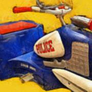 Retro Police Tricycle Art Print
