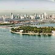 Retro Style Miami Skyline And Biscayne Bay Art Print