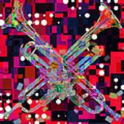 Retro Trumpets Art Print