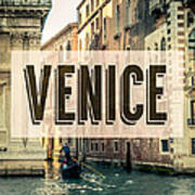Retro Venice Grand Canal Poster Art Print
