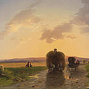 Return From The Field In The Evening Glow Art Print