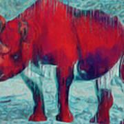 Rhino Art Print by Jack Zulli
