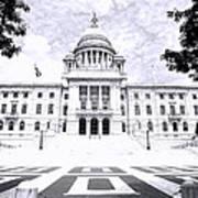 Rhode Island State House Bw Art Print