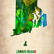 Rhode Island Watercolor Map Art Print