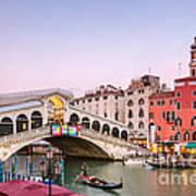 Rialto Bridge At Sunset - Venice Art Print