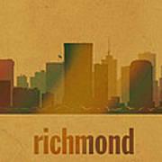 Richmond Virginia City Skyline Watercolor On Parchment Art Print