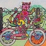 Ride Kitty Ride Art Print by Carol Hamby