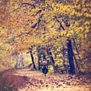 Riding A Bike In Autumn Art Print