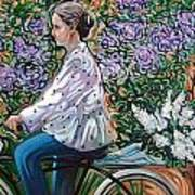 Riding Bycicle For Lilac Art Print
