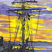 Rigging In The Sunset Art Print