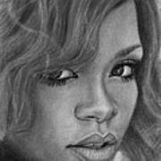 Rihanna Pencil Drawing Art Print