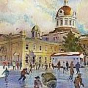 Rink At Kingston Market Square Art Print