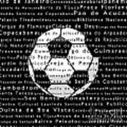 Rio De Janeiro In Words Black Soccer Art Print