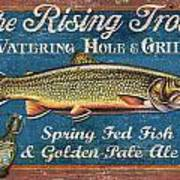 Rising Trout Sign Art Print by JQ Licensing