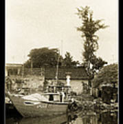 River Fishing Boat In Hoi An Art Print