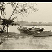River Fishing Boats In Hoi An Art Print