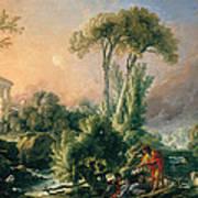 River Landscape With An Antique Temple Art Print