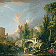 River Landscape With Ruin And Bridge Art Print