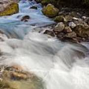 River Rapids Washing Over Rocks With Silky Look Art Print