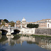 River Tiber With The Vatican. Rome Art Print
