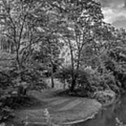 River Tranquility Monochrome Art Print