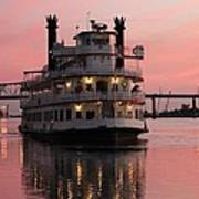 Riverboat At Sunset Art Print
