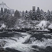 Riverfront Park Winter Storm - Spokane Washington Art Print