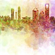 Riyadh Skyline In Watercolour Background  Art Print