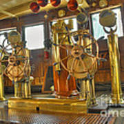 Rms Queen Mary Bridge Well-polished Brass Annunciator Controls And Steering Wheels Art Print