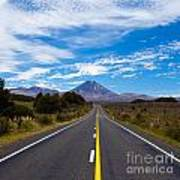 Road Leading To Active Volcanoe Mt Ngauruhoe Nz Art Print