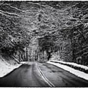 Road Through Dark Snowy Forest E93 Art Print