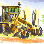 Roadmaster Tractor In Watercolor Art Print
