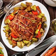 Roasted Pork Loin Roast Dinner Art Print