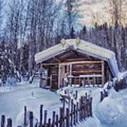 Robert Service Cabin Winter Idyll Art Print by Priska Wettstein