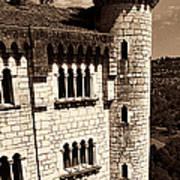 Rocamadour Stone Tower Vertical Panorama Sepia Art Print