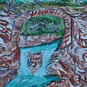 Rock Bridge Over Falls Art Print