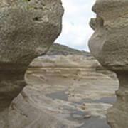 Rock Caves On The Beach Art Print
