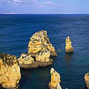 Rock Formations In The Sea, Algarve Art Print