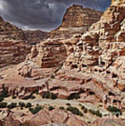 rock landscape with simple tombs in Petra Art Print