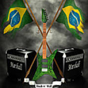 Rock N Roll Crest - Brazil Art Print by Frederico Borges