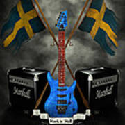 Rock N Roll Crest- Sweden Print by Frederico Borges
