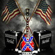 Rock N Roll Crest- Usa Art Print by Frederico Borges
