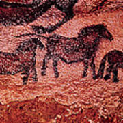 Rock Painting Of Tarpans Ponies, C.17000 Bc Cave Painting Art Print
