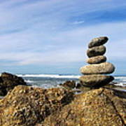 Rock Sculpture At The Beach Art Print