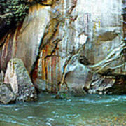 Rock Wall And River Art Print