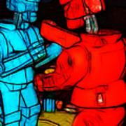 Rockem Sockem Robots - Color Sketch Style - Version 1 Art Print by Wingsdomain Art and Photography