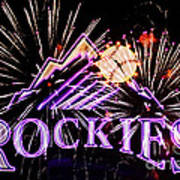 Rockies And Fireworks Art Print by Bob Hislop